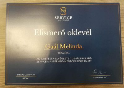Service Mastermind oklevél